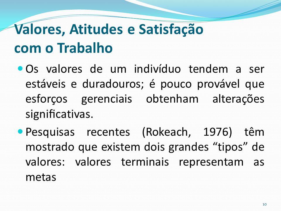 Valores, Atitudes e Satisfação com o Trabalho Os valores de um indivíduo tendem a ser estáveis e duradouros; é pouco provável que esforços gerenciais