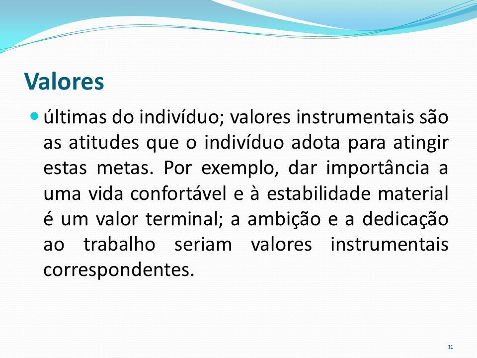 Valores últimas do indivíduo; valores instrumentais são as atitudes que o indivíduo adota para atingir estas metas. Por exemplo, dar importância a uma