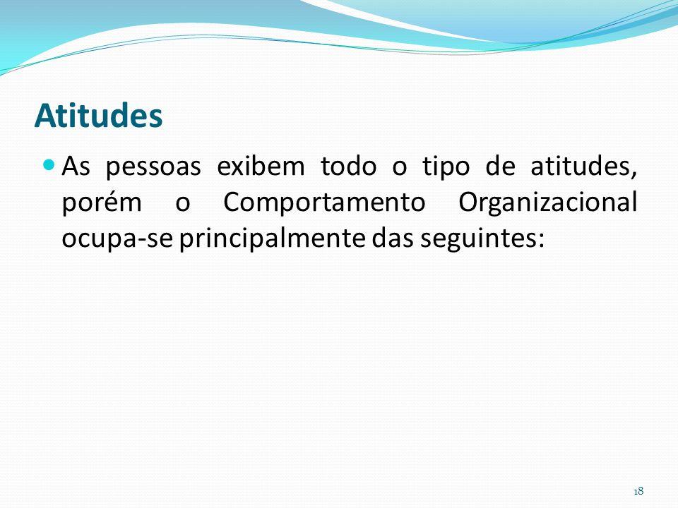 Atitudes As pessoas exibem todo o tipo de atitudes, porém o Comportamento Organizacional ocupa-se principalmente das seguintes: 18