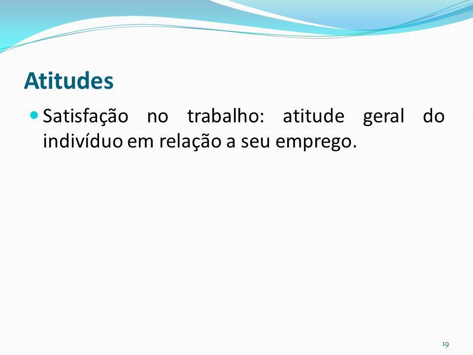Atitudes Satisfação no trabalho: atitude geral do indivíduo em relação a seu emprego. 19