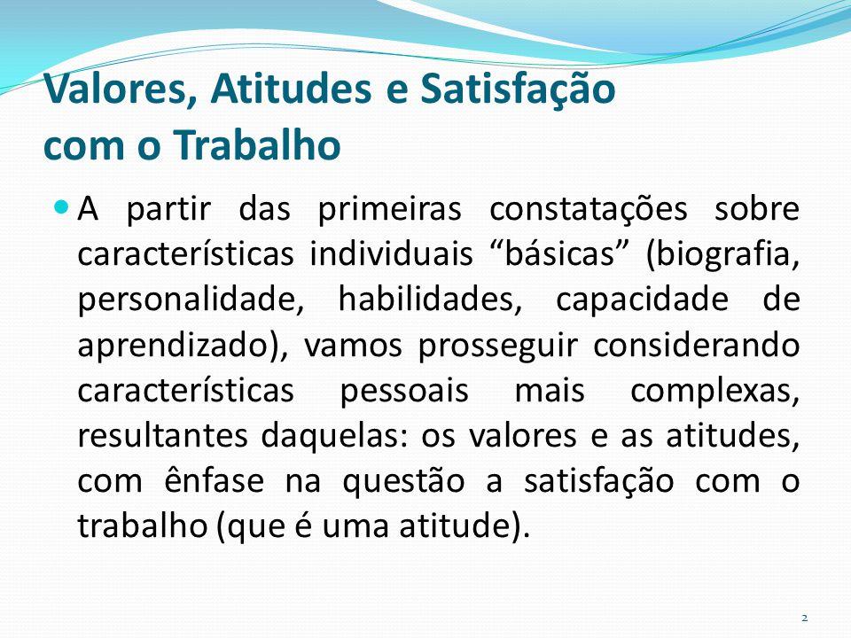 """Valores, Atitudes e Satisfação com o Trabalho A partir das primeiras constatações sobre características individuais """"básicas"""" (biografia, personalidad"""
