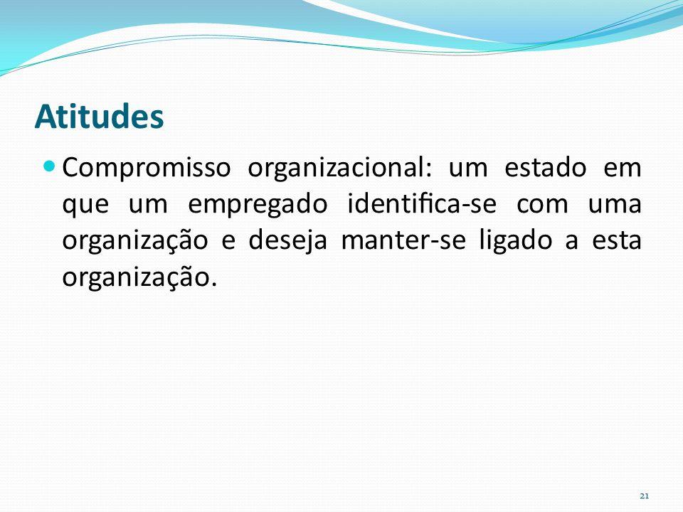 Atitudes Compromisso organizacional: um estado em que um empregado identifica-se com uma organização e deseja manter-se ligado a esta organização. 21