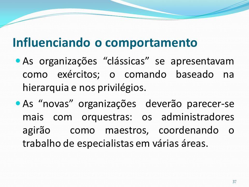 """Influenciando o comportamento As organizações """"clássicas"""" se apresentavam como exércitos; o comando baseado na hierarquia e nos privilégios. As """"novas"""
