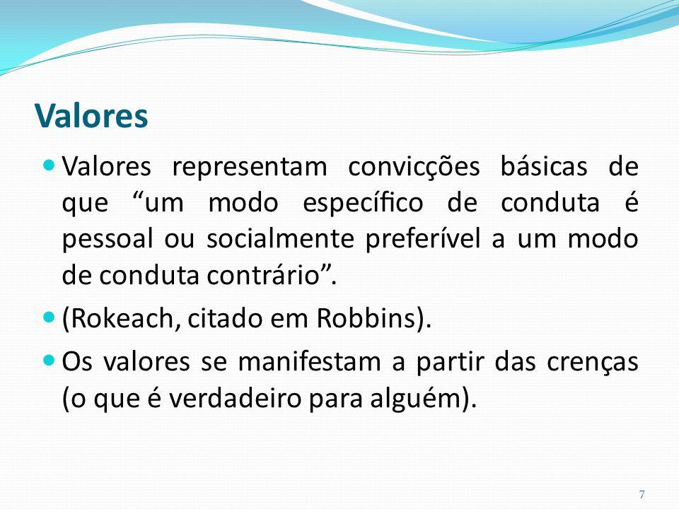 """Valores Valores representam convicções básicas de que """"um modo específico de conduta é pessoal ou socialmente preferível a um modo de conduta contrário"""