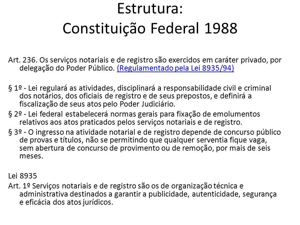 Estrutura Constituição Federal 1988 Poder Judiciário Estadual = Poder Delegante Serviços Notariais e de Registro = Descentralização Administrativa constitucional do Poder Judiciário.