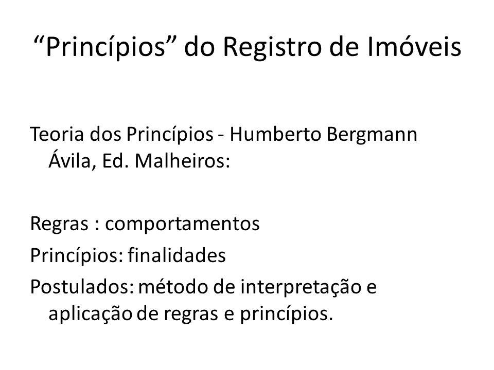 Princípios do Registro de Imóveis muitas vezes, os princípios são apenas as regras muito importantes ou regras mais importantes ...