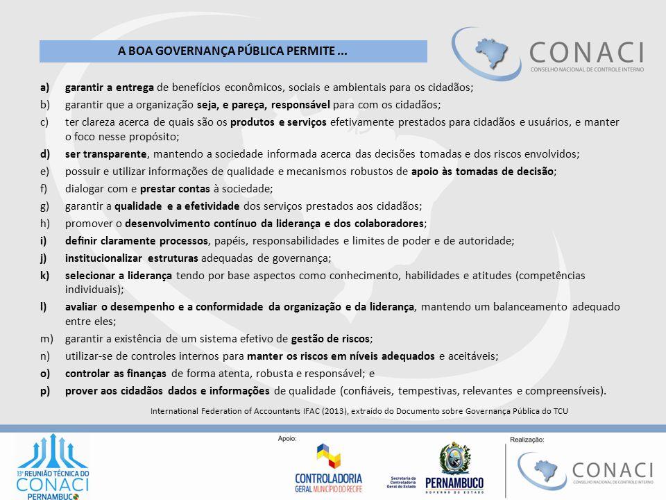 a)garantir a entrega de benefícios econômicos, sociais e ambientais para os cidadãos; b)garantir que a organização seja, e pareça, responsável para co
