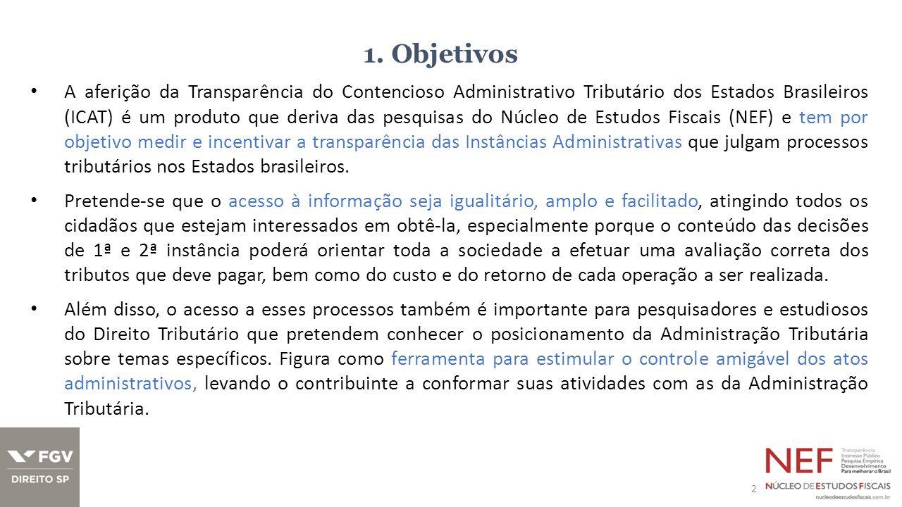 1. Objetivos A aferição da Transparência do Contencioso Administrativo Tributário dos Estados Brasileiros (ICAT) é um produto que deriva das pesquisas