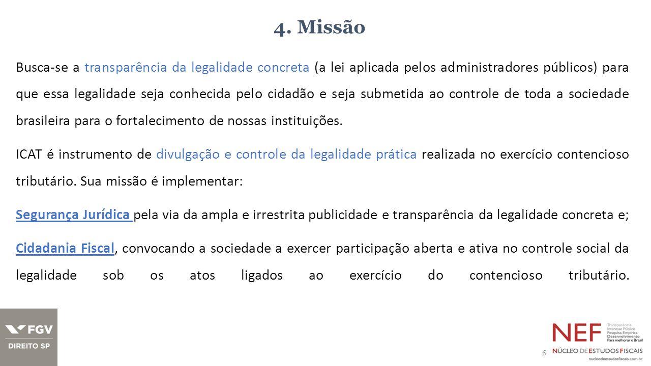 4. Missão Busca-se a transparência da legalidade concreta (a lei aplicada pelos administradores públicos) para que essa legalidade seja conhecida pelo