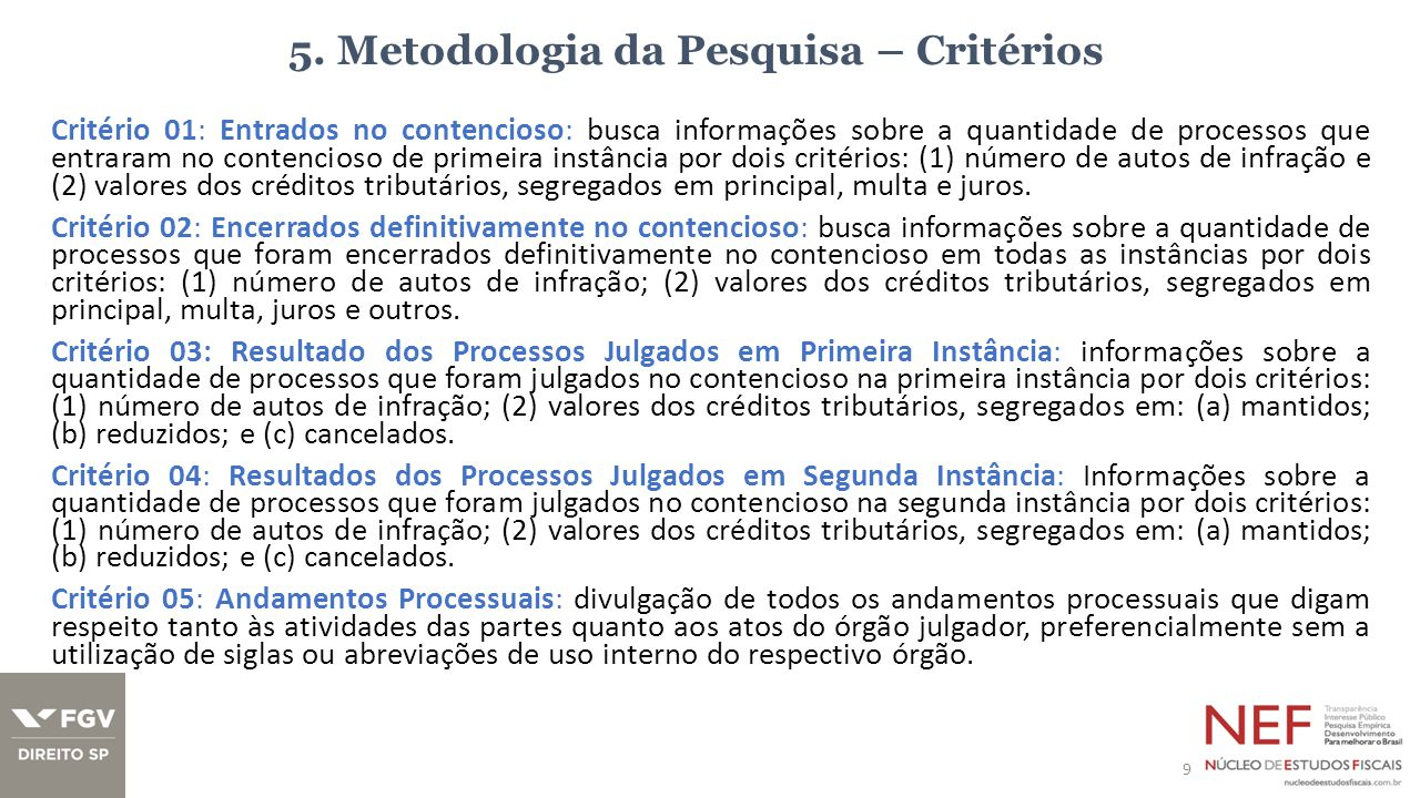 5. Metodologia da Pesquisa – Critérios Critério 01: Entrados no contencioso: busca informações sobre a quantidade de processos que entraram no contenc