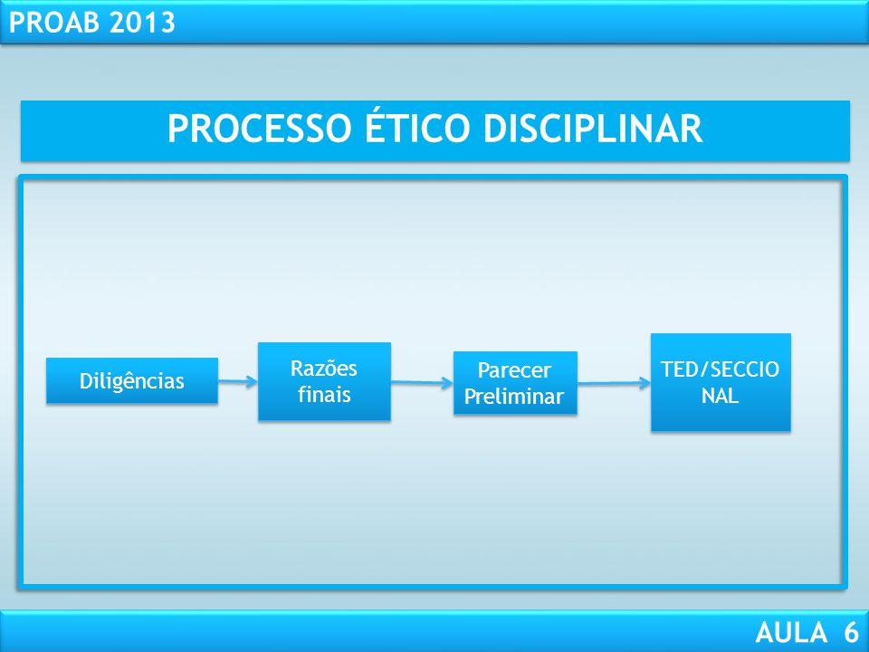 RESPONSABILIDADE CIVIL AULA 1 PROAB 2013 AULA 6 Instrução processual: 4 - Realização de diligências e Conclusão da Instrução – art. 52, § 3°, CED; 5 -