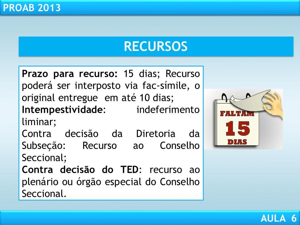 RESPONSABILIDADE CIVIL AULA 1 PROAB 2013 AULA 6 RECURSOS Recursos: das decisões não unânimes ou unânimes desde que contrariem a legislação da OAB - Ar
