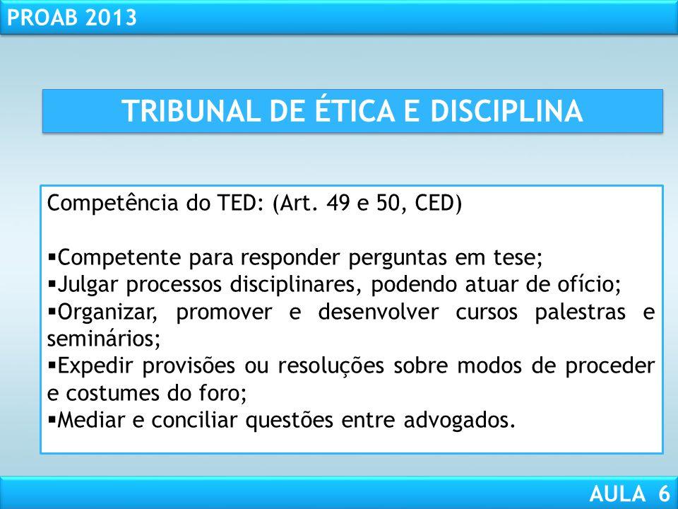 RESPONSABILIDADE CIVIL AULA 1 PROAB 2013 AULA 6 Tribunal de Ética e Disciplina da OAB; Infrações ético-disciplinares; Suspensão Preventiva. PONTOS DA