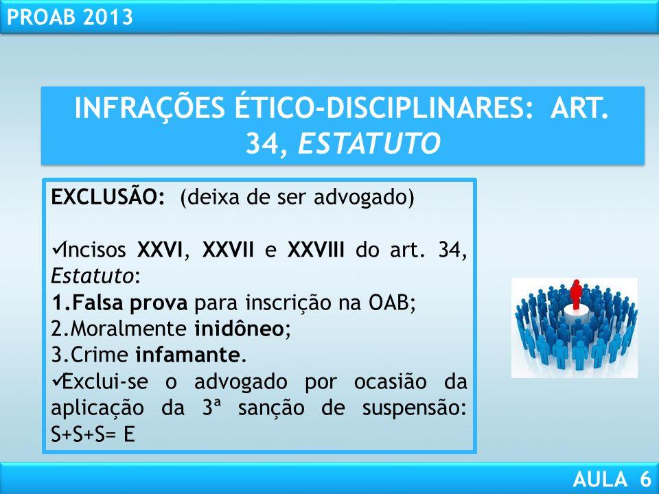 RESPONSABILIDADE CIVIL AULA 1 PROAB 2013 AULA 6 INFRAÇÕES ÉTICO-DISCIPLINARES: ART. 34, ESTATUTO SUSPENSÃO: (não pode advogar) Período: de 30 dias a 1