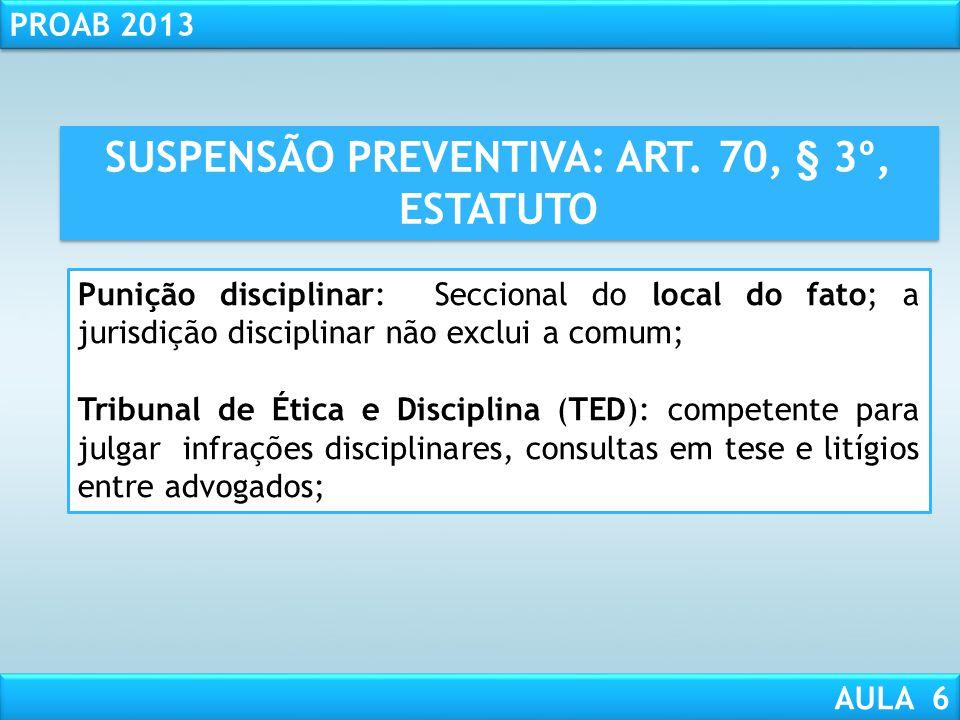 RESPONSABILIDADE CIVIL AULA 1 PROAB 2013 AULA 6 ATENÇÃO! O TED poderá suspender a aplicação da advertência/censura desde que o infrator, primário, fre