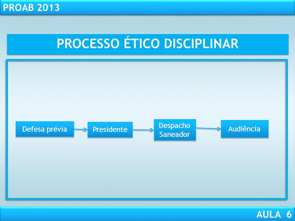 RESPONSABILIDADE CIVIL AULA 1 PROAB 2013 AULA 6 Instrução processual: 1 - Notificar os interessados e o representado para defesa prévia ( com todos os