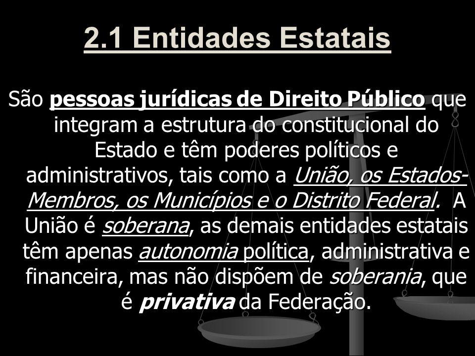 2.1 Entidades Estatais São pessoas jurídicas de Direito Público que integram a estrutura do constitucional do Estado e têm poderes políticos e adminis