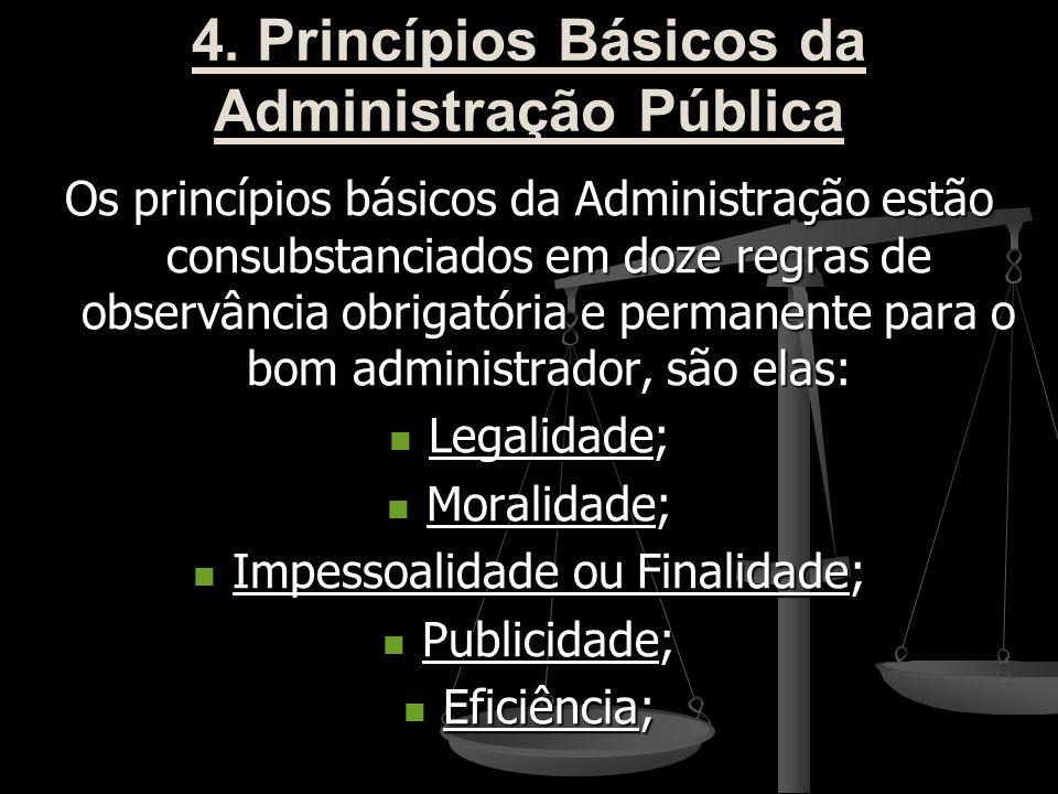 4. Princípios Básicos da Administração Pública Os princípios básicos da Administração estão consubstanciados em doze regras de observância obrigatória