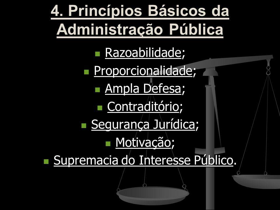 4. Princípios Básicos da Administração Pública Razoabilidade; Razoabilidade; Proporcionalidade; Proporcionalidade; Ampla Defesa; Ampla Defesa; Contrad