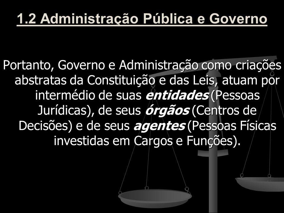 1.2 Administração Pública e Governo Portanto, Governo e Administração como criações abstratas da Constituição e das Leis, atuam por intermédio de suas