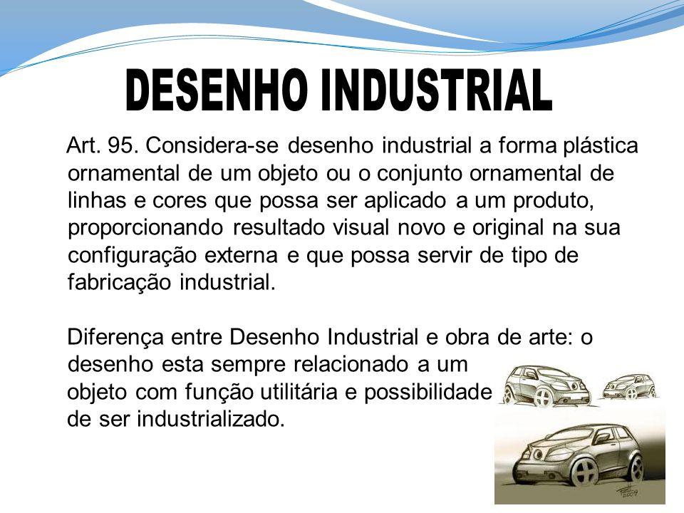 Art. 95. Considera-se desenho industrial a forma plástica ornamental de um objeto ou o conjunto ornamental de linhas e cores que possa ser aplicado a