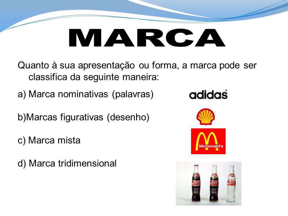Quanto à sua apresentação ou forma, a marca pode ser classifica da seguinte maneira: a)Marca nominativas (palavras) b)Marcas figurativas (desenho) c)