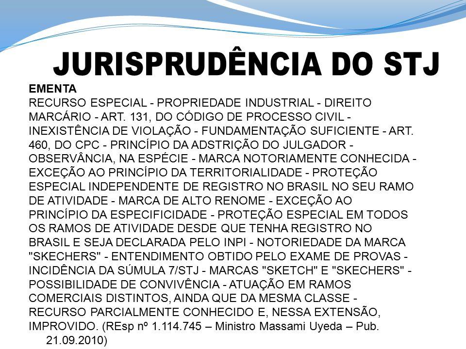 EMENTA RECURSO ESPECIAL - PROPRIEDADE INDUSTRIAL - DIREITO MARCÁRIO - ART. 131, DO CÓDIGO DE PROCESSO CIVIL - INEXISTÊNCIA DE VIOLAÇÃO - FUNDAMENTAÇÃO