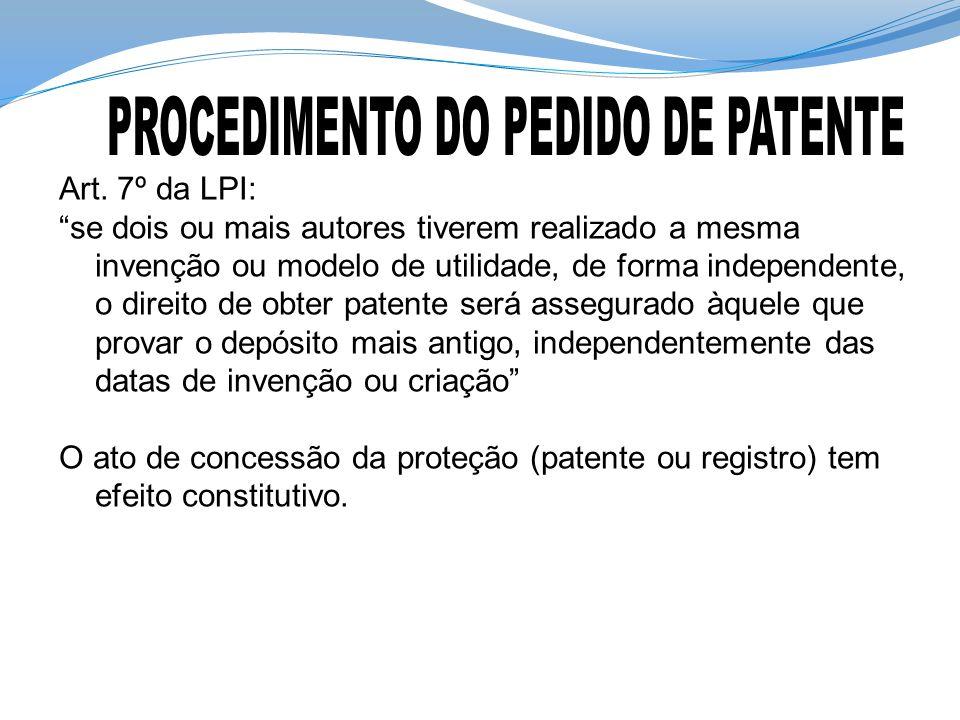 """Art. 7º da LPI: """"se dois ou mais autores tiverem realizado a mesma invenção ou modelo de utilidade, de forma independente, o direito de obter patente"""