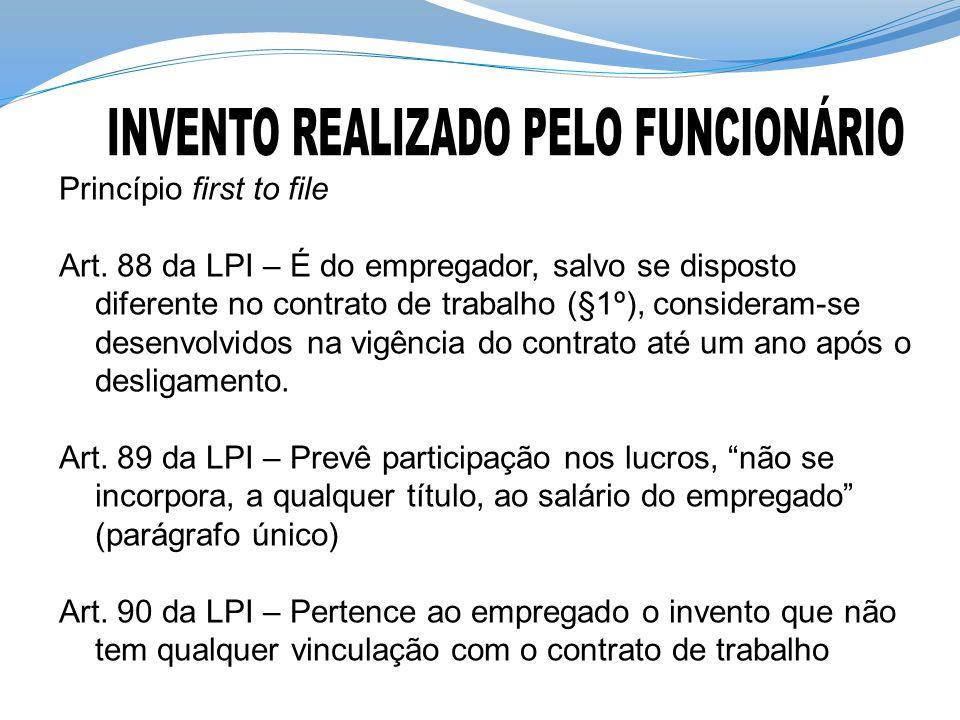 Princípio first to file Art. 88 da LPI – É do empregador, salvo se disposto diferente no contrato de trabalho (§1º), consideram-se desenvolvidos na vi