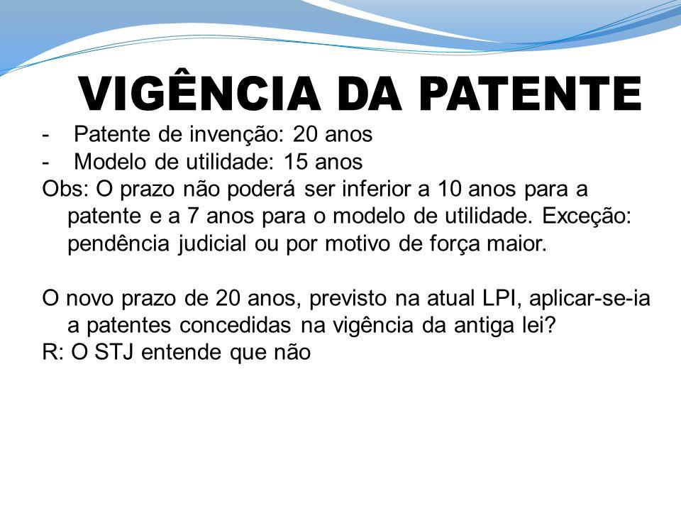 - Patente de invenção: 20 anos - Modelo de utilidade: 15 anos Obs: O prazo não poderá ser inferior a 10 anos para a patente e a 7 anos para o modelo d