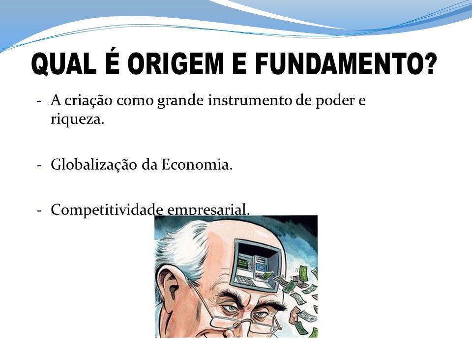 - A criação como grande instrumento de poder e riqueza. - Globalização da Economia. - Competitividade empresarial.