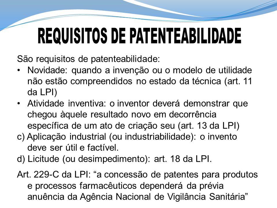 São requisitos de patenteabilidade: Novidade: quando a invenção ou o modelo de utilidade não estão compreendidos no estado da técnica (art. 11 da LPI)