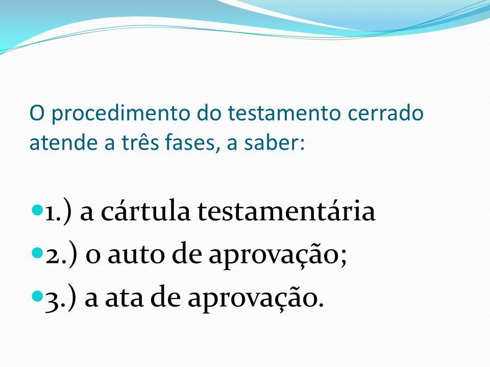 O procedimento do testamento cerrado atende a três fases, a saber: 1.) a cártula testamentária 2.) o auto de aprovação; 3.) a ata de aprovação.