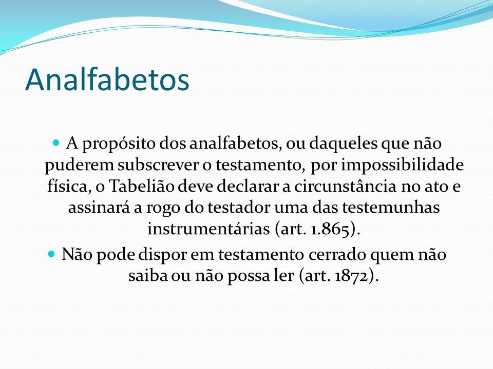 Analfabetos A propósito dos analfabetos, ou daqueles que não puderem subscrever o testamento, por impossibilidade física, o Tabelião deve declarar a c