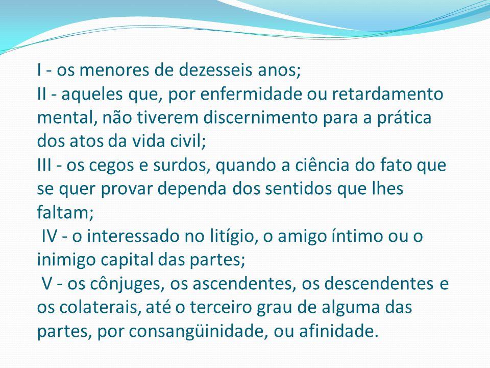 I - os menores de dezesseis anos; II - aqueles que, por enfermidade ou retardamento mental, não tiverem discernimento para a prática dos atos da vida