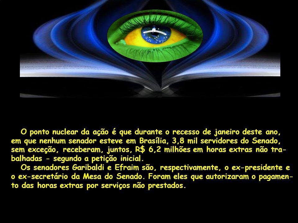 O ponto nuclear da ação é que durante o recesso de janeiro deste ano, em que nenhum senador esteve em Brasília, 3,8 mil servidores do Senado, sem exceção, receberam, juntos, R$ 6,2 milhões em horas extras não tra- balhadas - segundo a petição inicial.