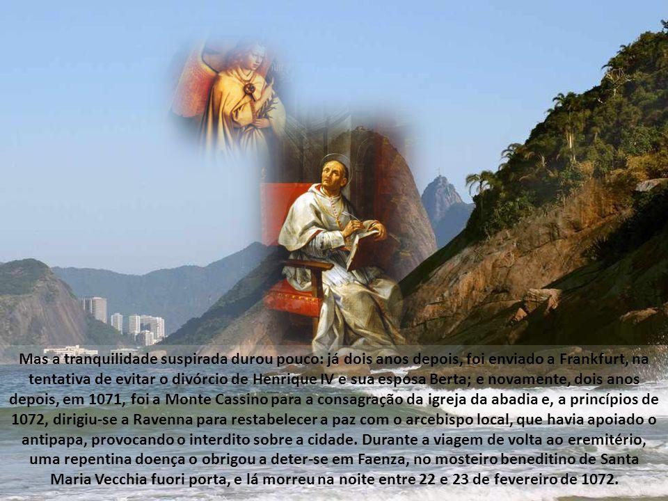 Por isso, com grande dor e tristeza, em 1057, Pedro Damião deixa o mosteiro e aceita, ainda com dificuldade, a nomeação de cardeal bispo de Óstia, entrando assim plenamente em colaboração com os papas na difícil empresa da reforma da Igreja.