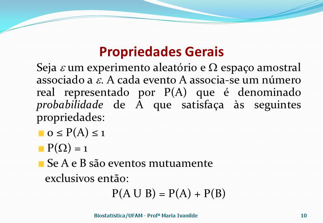 Propriedades Gerais Seja  um experimento aleatório e  espaço amostral associado a . A cada evento A associa-se um número real representado por P(A)