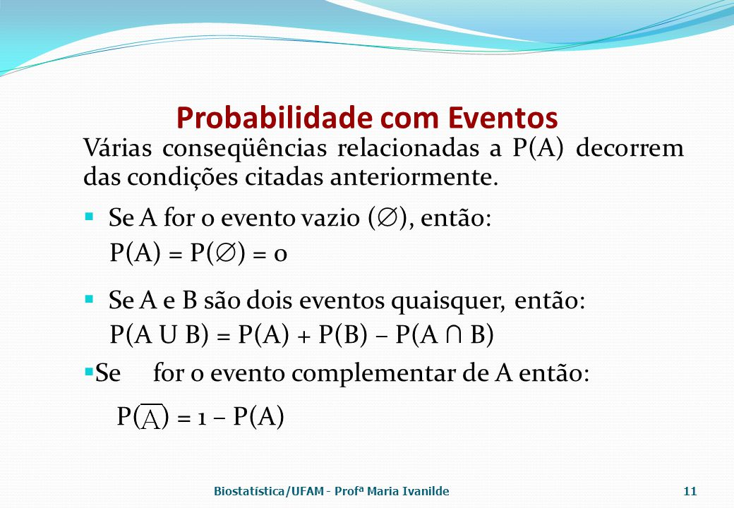 Probabilidade com Eventos Várias conseqüências relacionadas a P(A) decorrem das condições citadas anteriormente.  Se A for o evento vazio (  ), entã