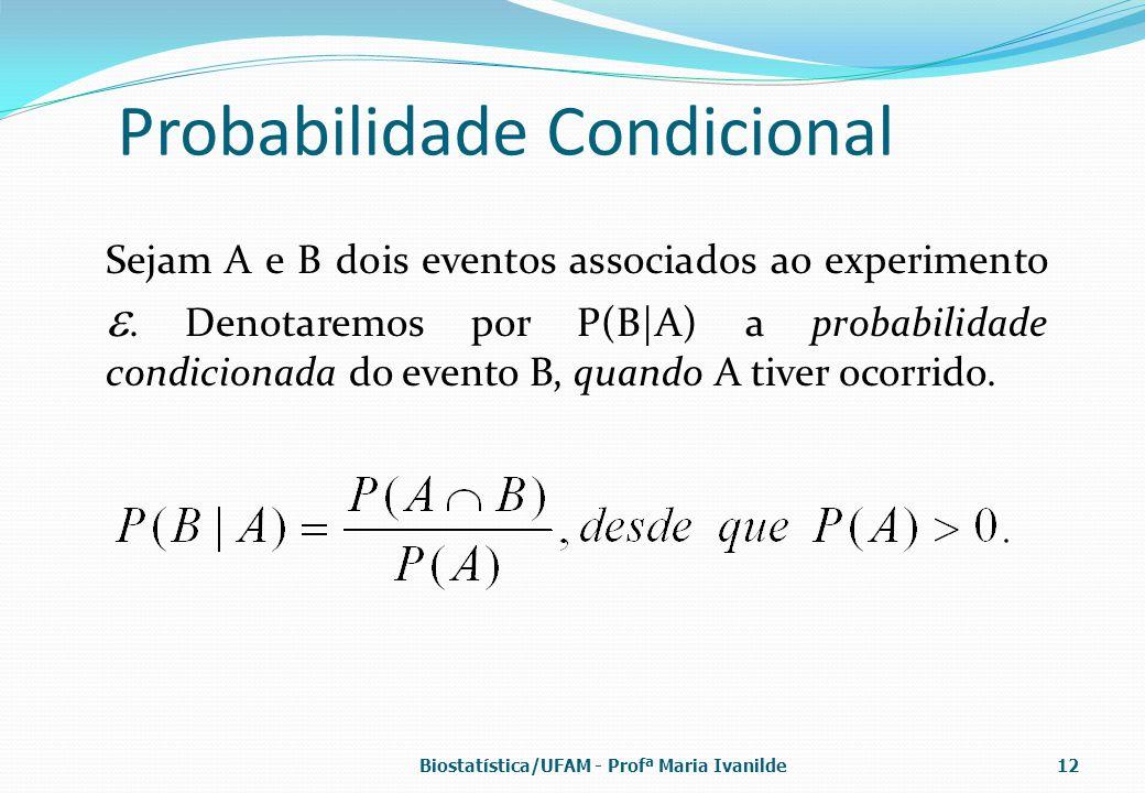 Probabilidade Condicional Sejam A e B dois eventos associados ao experimento . Denotaremos por P(B|A) a probabilidade condicionada do evento B, quand
