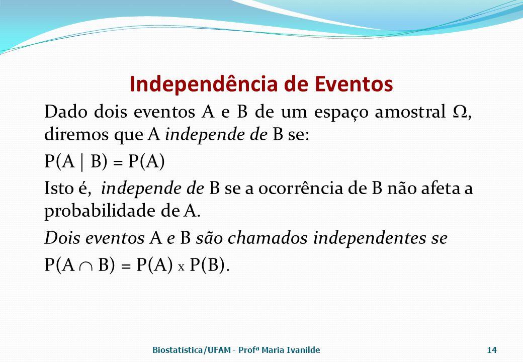 Independência de Eventos Dado dois eventos A e B de um espaço amostral , diremos que A independe de B se: P(A | B) = P(A) Isto é, independe de B se a