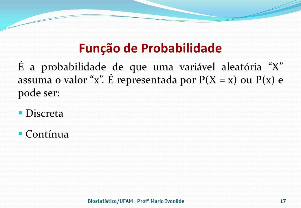 """Função de Probabilidade É a probabilidade de que uma variável aleatória """"X"""" assuma o valor """"x"""". É representada por P(X = x) ou P(x) e pode ser:  Disc"""