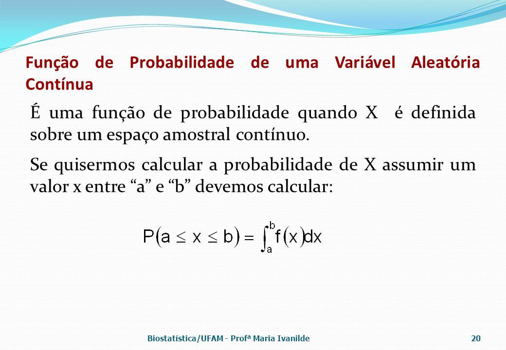 Função de Probabilidade de uma Variável Aleatória Contínua É uma função de probabilidade quando X é definida sobre um espaço amostral contínuo. Se qui
