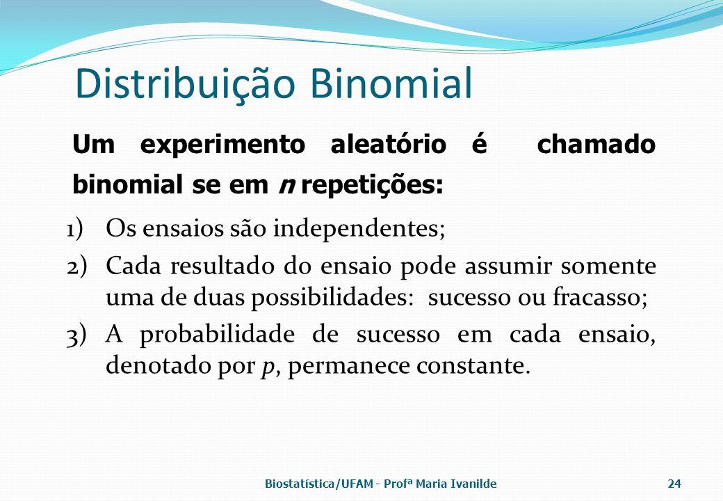 Distribuição Binomial 1)Os ensaios são independentes; 2)Cada resultado do ensaio pode assumir somente uma de duas possibilidades: sucesso ou fracasso;