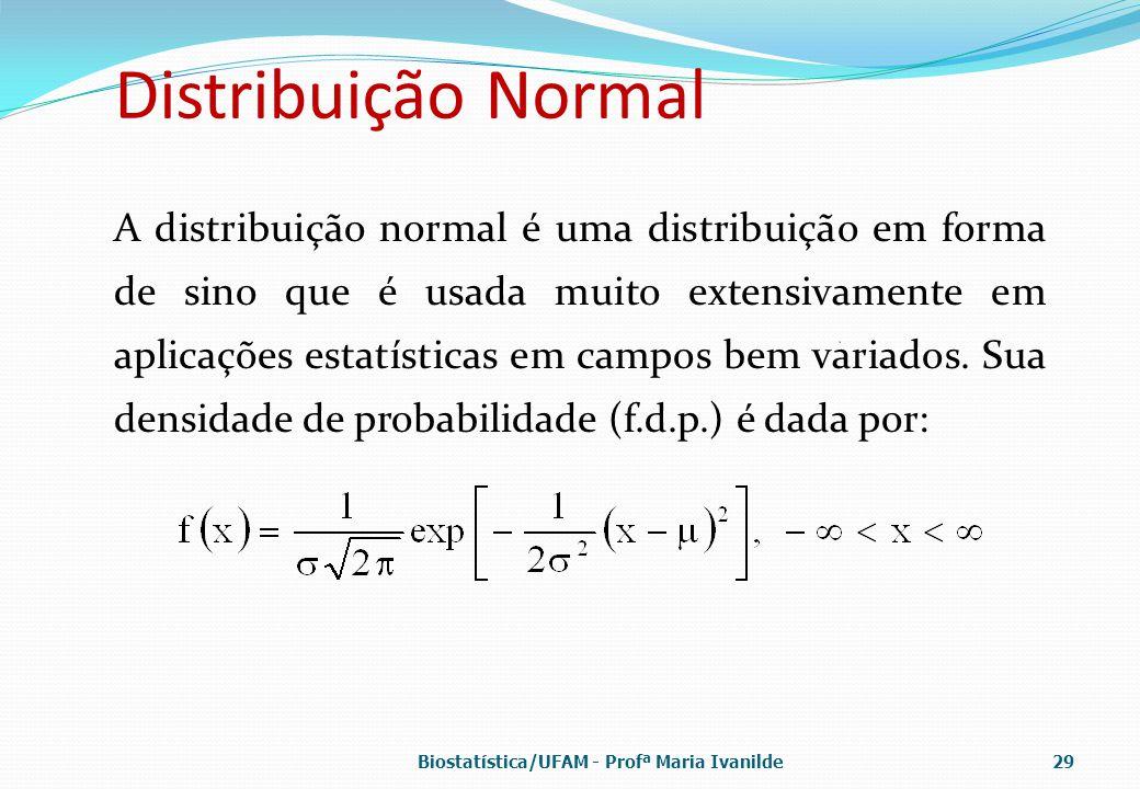Distribuição Normal A distribuição normal é uma distribuição em forma de sino que é usada muito extensivamente em aplicações estatísticas em campos be