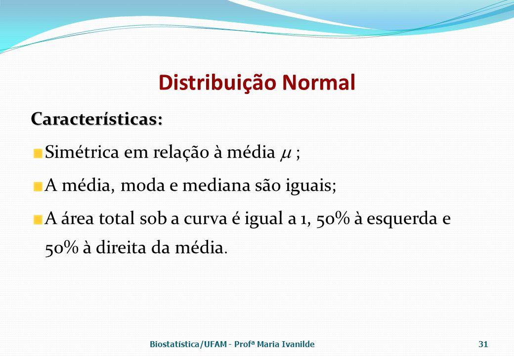 Distribuição Normal Características: Simétrica em relação à média  ; A média, moda e mediana são iguais; A área total sob a curva é igual a 1, 50% à