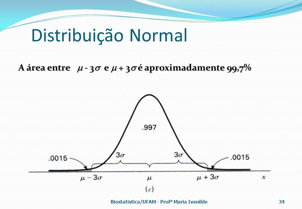 Distribuição Normal A área entre  - 3  e  + 3  é aproximadamente 99,7% Biostatística/UFAM - Profª Maria Ivanilde34