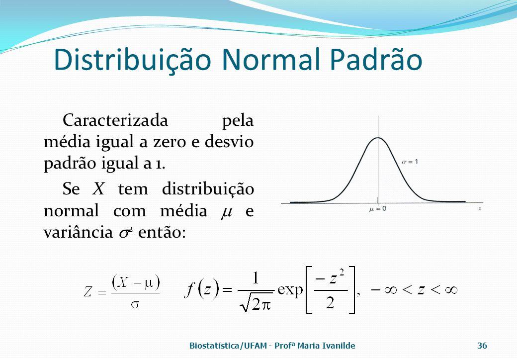 Distribuição Normal Padrão Caracterizada pela média igual a zero e desvio padrão igual a 1. Se X tem distribuição normal com média  e variância  2 e