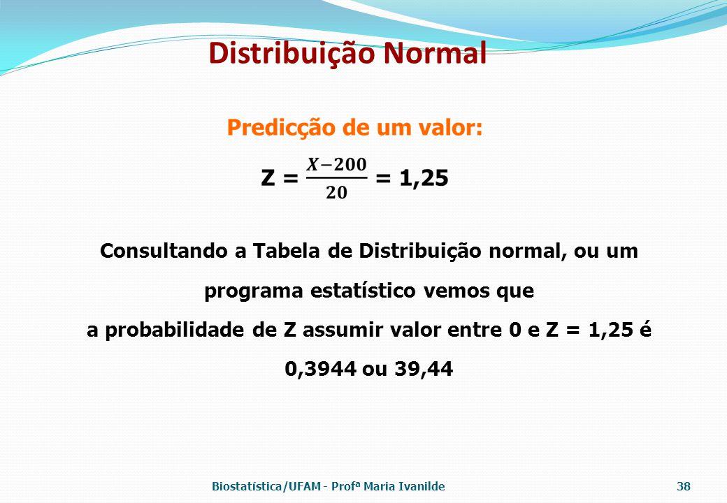 Distribuição Normal Consultando a Tabela de Distribuição normal, ou um programa estatístico vemos que a probabilidade de Z assumir valor entre 0 e Z =