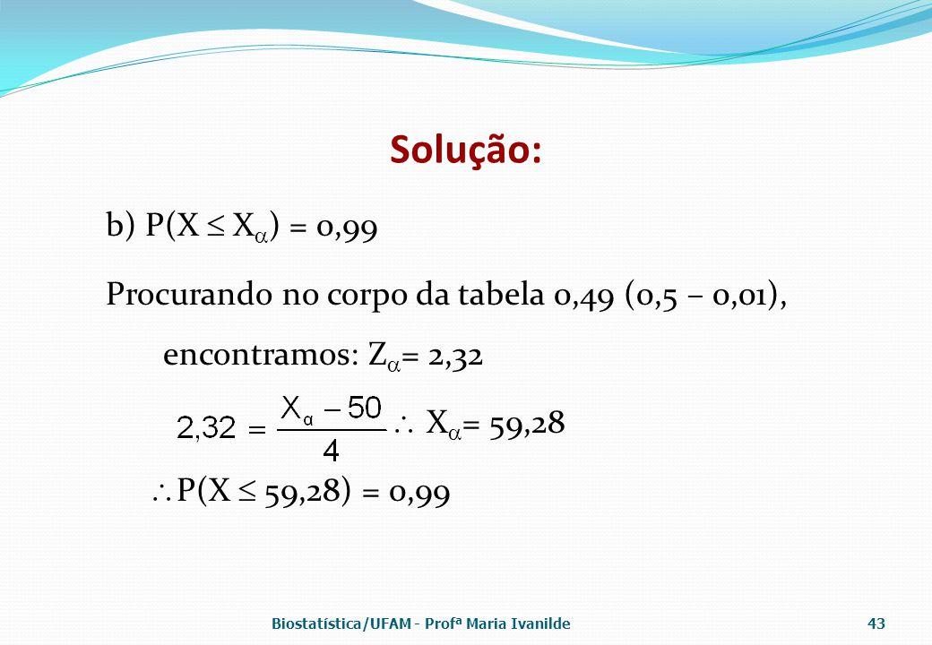 Solução: b) P(X  X  ) = 0,99 Procurando no corpo da tabela 0,49 (0,5 – 0,01), encontramos: Z  = 2,32  X  = 59,28  P(X  59,28) = 0,99 Biostatíst